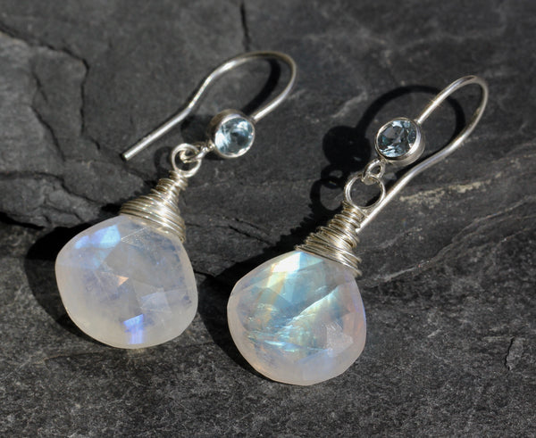 Rainbow Moonstone Blue Topaz Earrings
