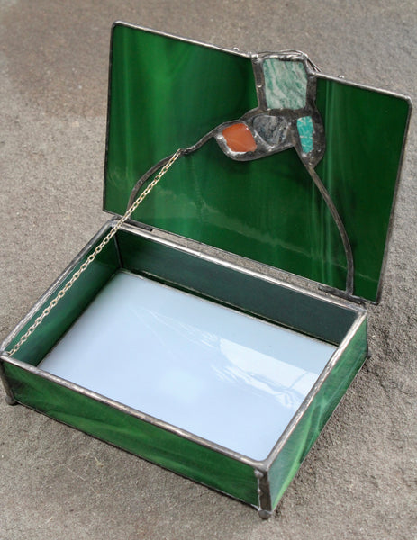 Malachite Green Stained Glass Box with Wired Stones