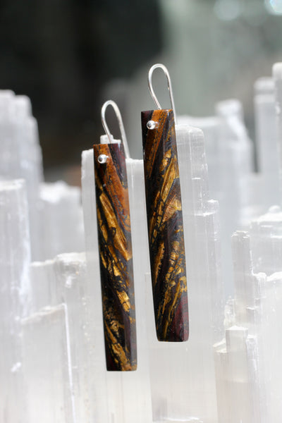 Iron Tigereye Long Earrings