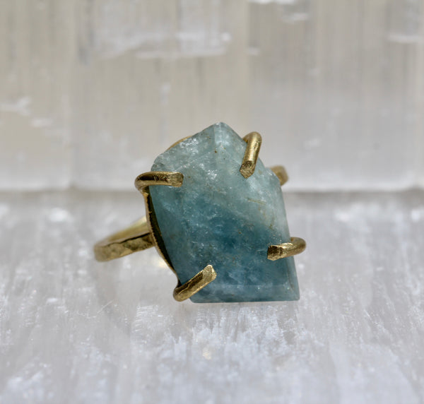 Aquamarine Brass Ring