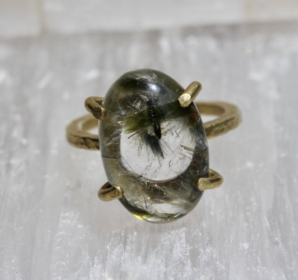 Tourmalinated Quartz Cabochon RIng