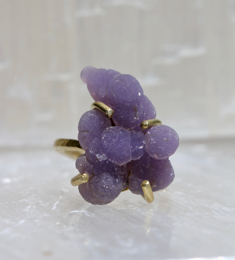 Grape Agate Brass Ring