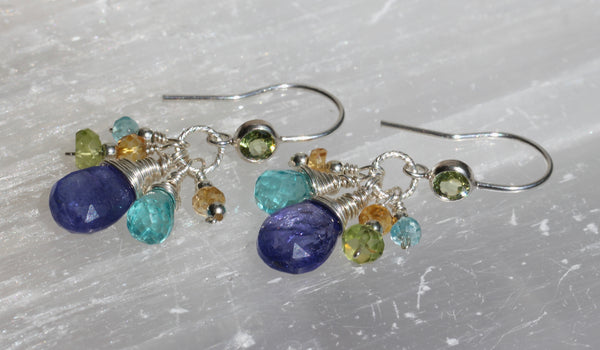 Tanzanite Apatite Peridot Citrine Cluster Drop Earrings