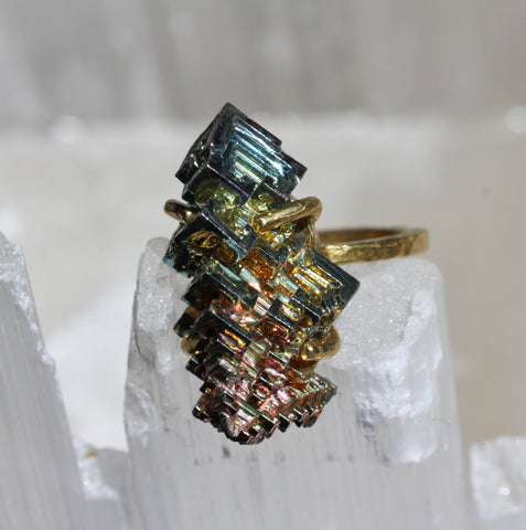 Bismuth Brass Ring - size 7