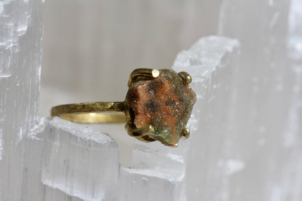 Chrome Chalcedony Orange Druzy Ring