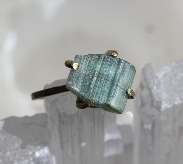 Teal Green Tourmaline Brass Ring