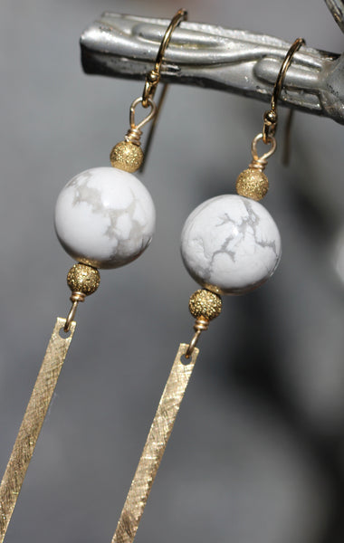 Howlite Brass Bar Earrings