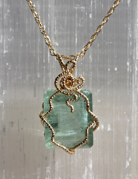 Aquamarine Emerald Cut Gem Necklace