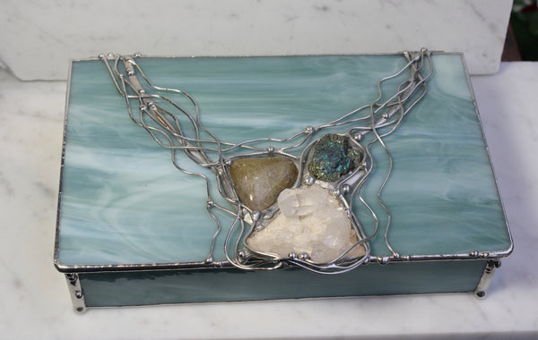 Mint Green Crystal Glass Box with Chalcopyrite, Quartz and Rutilated Quartz