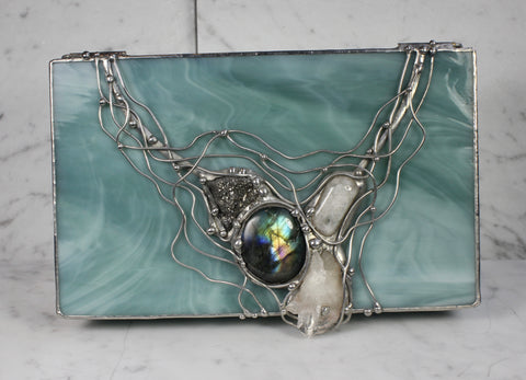 Mint Green Crystal Glass Box with Labradorite, Pyrite, Quartz and Moonstone