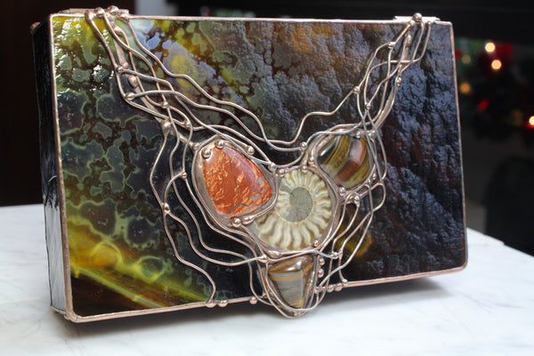 Crystal Glass Box with Agate, Tigereye, Jasper and Ammonite