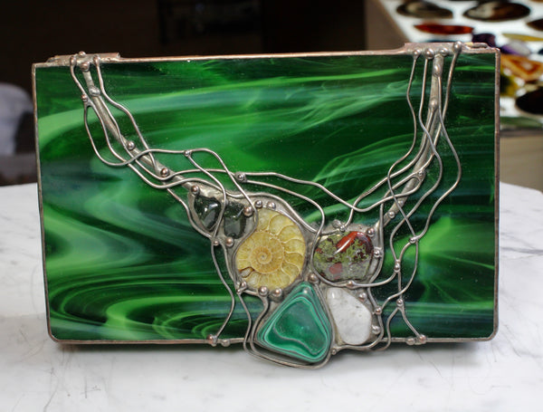 Green Swirl Stained Glass Box with Malachite, Jasper, Moonstone and Ammonite