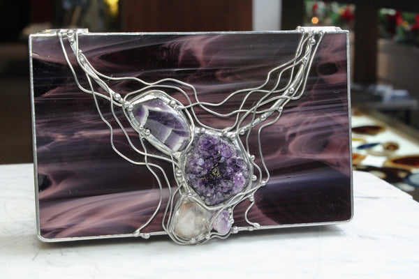 Purple Crystal Glass Box with Amethyst and Quartz