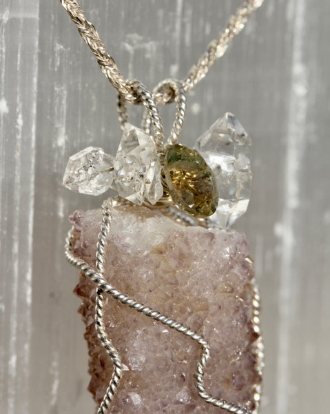 Cactus Amethyst Pendant with Tourmaline and Herkimer Diamonds