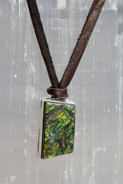 Ammolite Leather Necklace