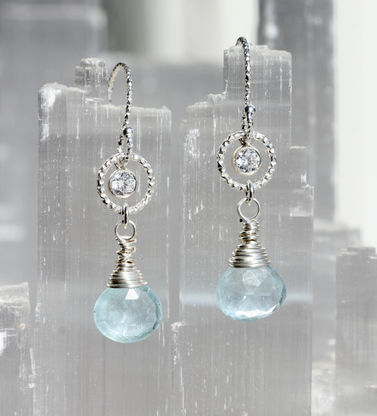 Aquamarine CZ Circle Drop Earrings