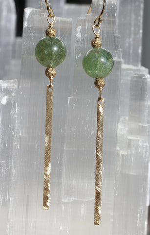 Green Apatite Brass Bar Earrings