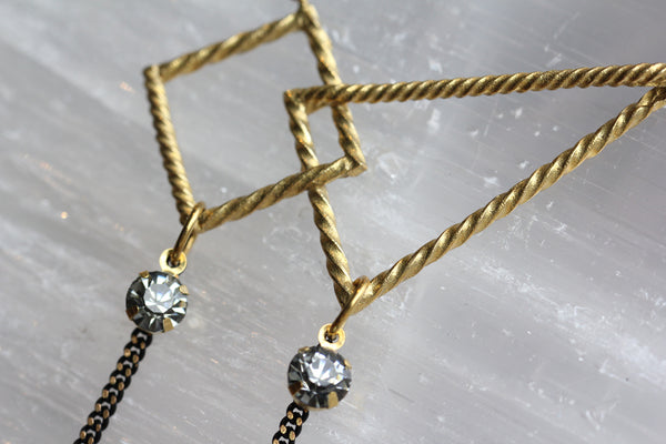 Geometric Brass and Crystal Necklace