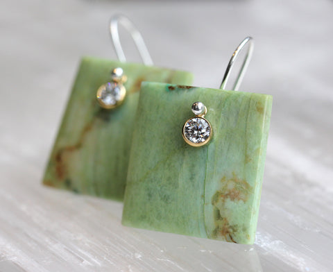 Green Chrysocolla CZ Tile Earrings