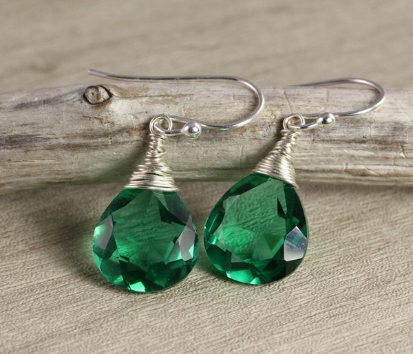Green Quartz Silver Wrap Earrings