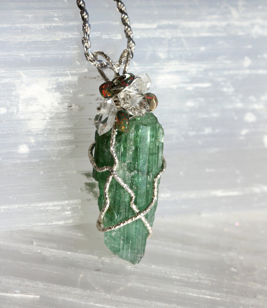 Green Tourmaline Crystal Pendant with Ethiopian Opal and Herkimer Diamond