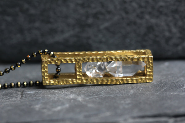 Herkimer Diamond Block Cage Necklace