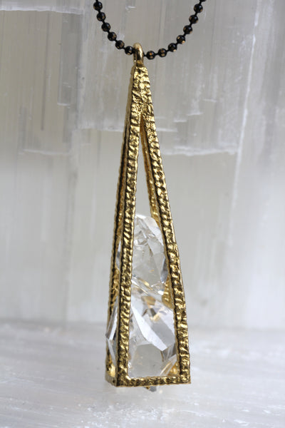 Herkimer Diamond Pyramid Cage Necklace