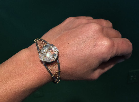 Herkimer Diamond Gold Wrap Cuff Bracelet