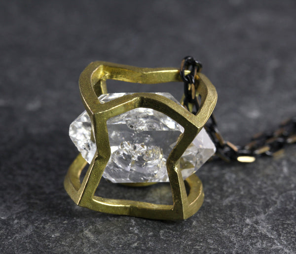Herkimer Diamond Crushed Cube Necklace - Annick Designs - 2