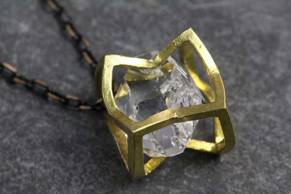 Herkimer Diamond Crushed Cube Necklace - Annick Designs - 3