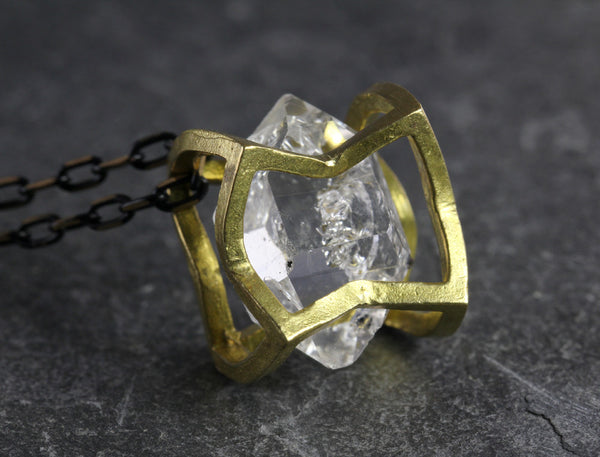 Herkimer Diamond Crushed Cube Necklace - Annick Designs - 1