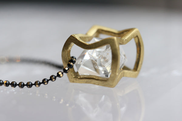 Herkimer Diamond Small Crushed Cube Necklace