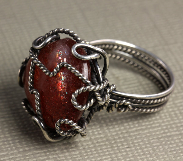 Sunstone Wire Wrapped Ring - Annick Designs - 1