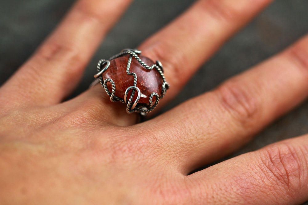 Size 4.75  Wire Wrapped African Sunstone Ring