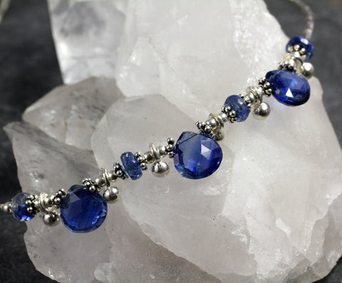 Gemmy Kyanite Silver Beaded Necklace - Annick Designs - 1