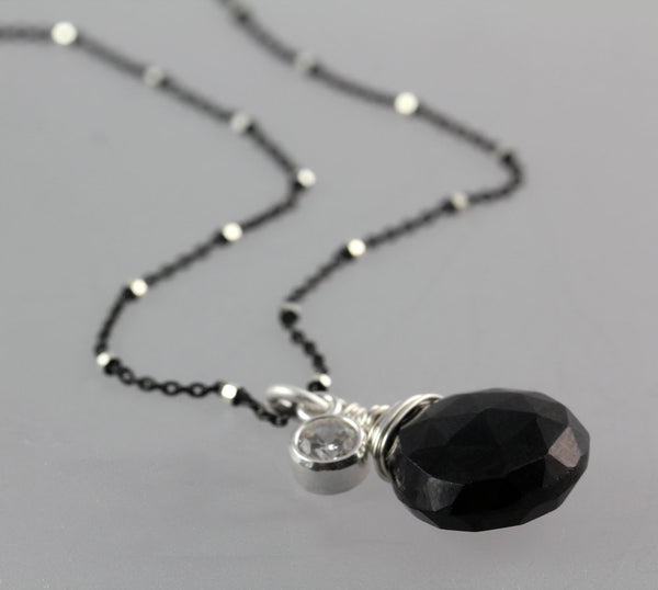 Black Onyx Cubic Zirconia Drop Necklace - Annick Designs - 4