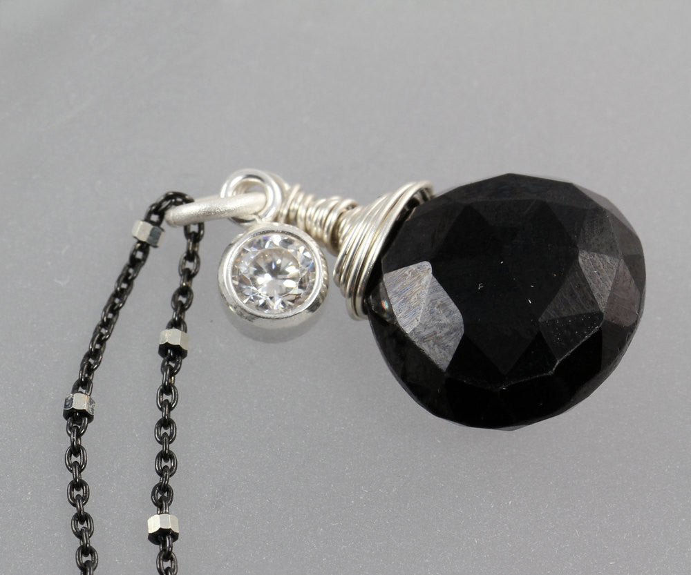 Black Onyx Cubic Zirconia Drop Necklace - Annick Designs - 1