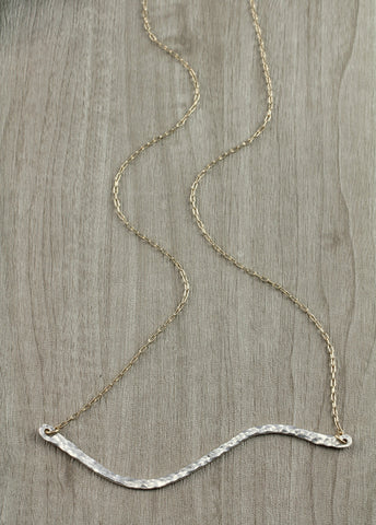 Hammered Bar Two Toned Necklace - Annick Designs - 1