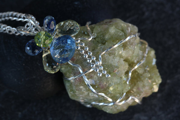 Vesuvianite Druzy Pendant - with Kyanite, Peridot and Lemon Quartz - Annick Designs - 3