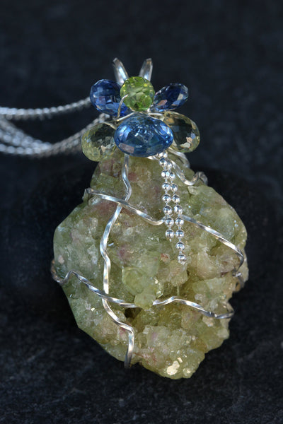 Vesuvianite Druzy Pendant - with Kyanite, Peridot and Lemon Quartz - Annick Designs - 2