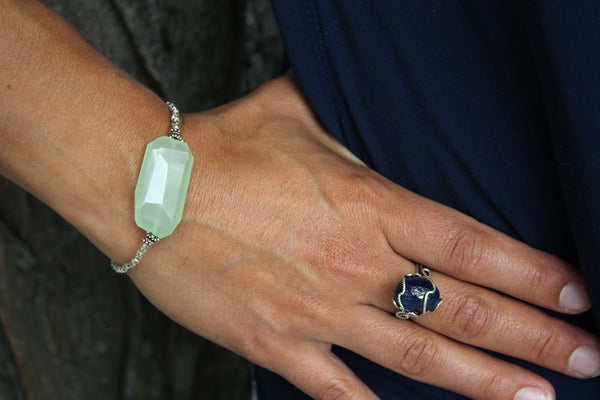 Green Chalcedony Tribal Silver Bracelet - Annick Designs - 2