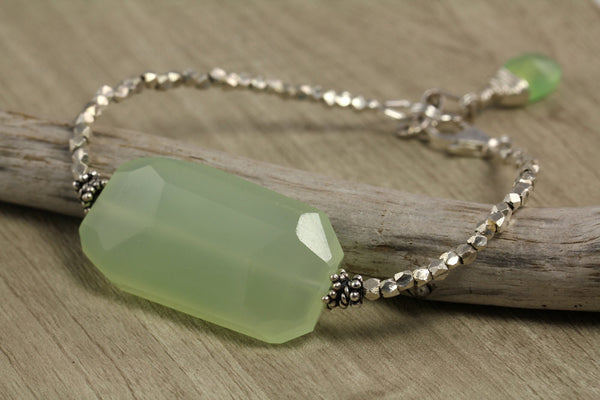 Green Chalcedony Tribal Silver Bracelet - Annick Designs - 4