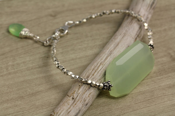Green Chalcedony Tribal Silver Bracelet - Annick Designs - 5