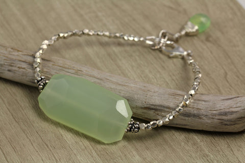 Green Chalcedony Tribal Silver Bracelet - Annick Designs - 1