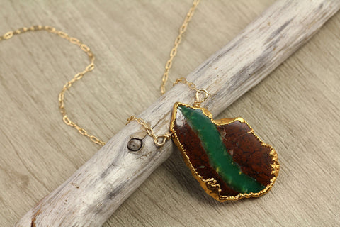 Organic Chrysoprase Gold Trim Necklace - Annick Designs - 1