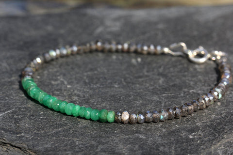 Emerald and Labradorite Stacking Bracelet - Annick Designs - 1