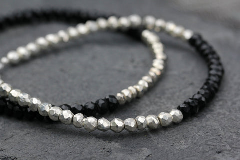 Black Spinel Silver Pyrite stacking Bracelet - Annick Designs - 1