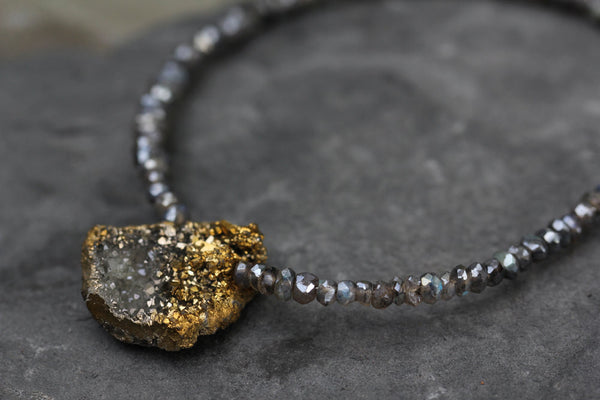 Gold Druzy Labradorite Beaded Necklace - Annick Designs - 3