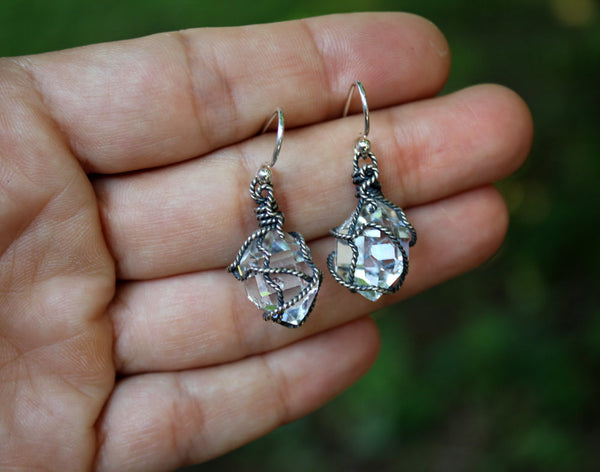 Herkimer Diamond Oxidized Wrapped Earrings - Annick Designs - 5