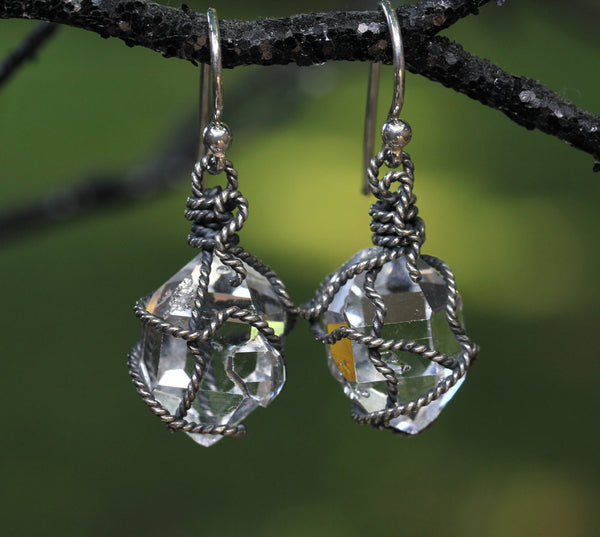 Herkimer Diamond Oxidized Wrapped Earrings - Annick Designs - 1